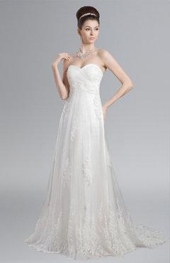 ColsBM Leia Cream Modern Garden Strapless Zip up Lace Chapel Train Plus Size Bridal Gowns