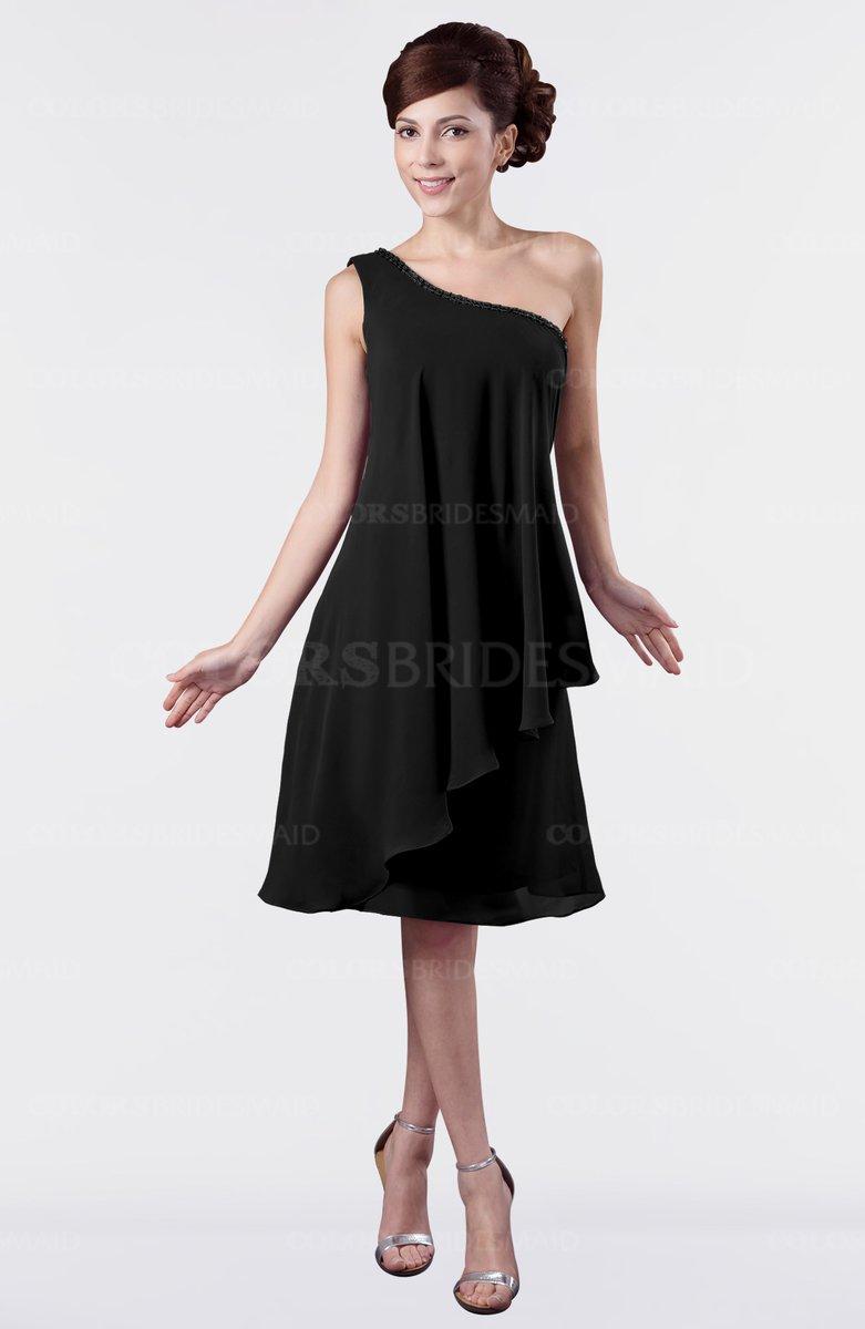 Black cute one shoulder zipper knee length rhinestone plus for Plus size one shoulder wedding dress