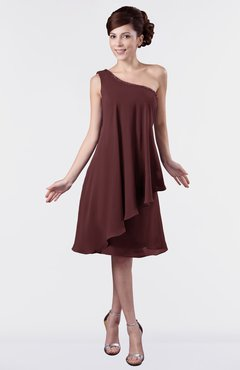 ColsBM Mallory Burgundy Cute One Shoulder Zipper Knee Length Rhinestone Plus Size Bridesmaid Dresses
