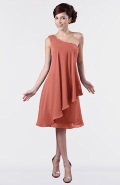 ColsBM Mallory Crabapple Cute One Shoulder Zipper Knee Length Rhinestone Plus Size Bridesmaid Dresses