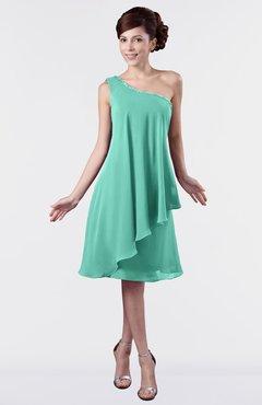Plus Size Bridesmaid Dresses Mint Green color One Shoulder, Free ...