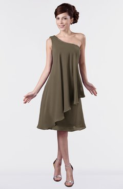 ColsBM Mallory Otter Cute One Shoulder Zipper Knee Length Rhinestone Plus Size Bridesmaid Dresses