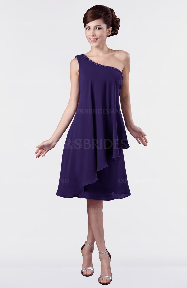 cab5719426f ColsBM Mallory Royal Purple Cute One Shoulder Zipper Knee Length Rhinestone  Plus Size Bridesmaid Dresses