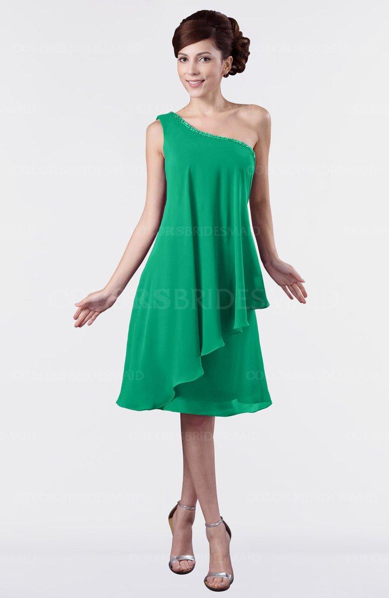 632e26d06ca0 ColsBM Mallory Sea Green Cute One Shoulder Zipper Knee Length Rhinestone  Plus Size Bridesmaid Dresses