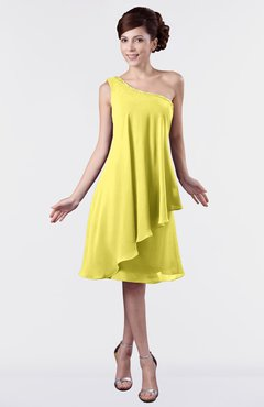 Colsbm Mallory Yellow Iris Cute One Shoulder Zipper Knee Length Rhinestone Plus Size Bridesmaid Dresses
