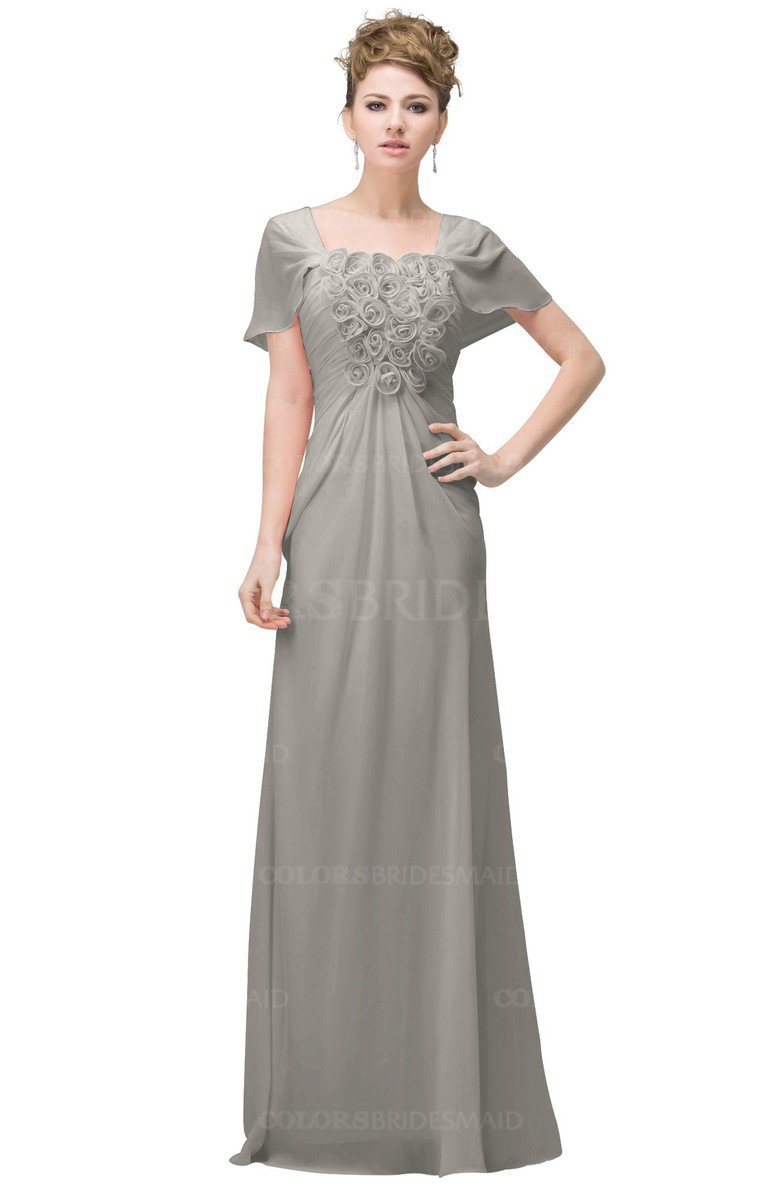 Ashes of roses casual a line square short sleeve floor for Free plus size wedding dress catalogs