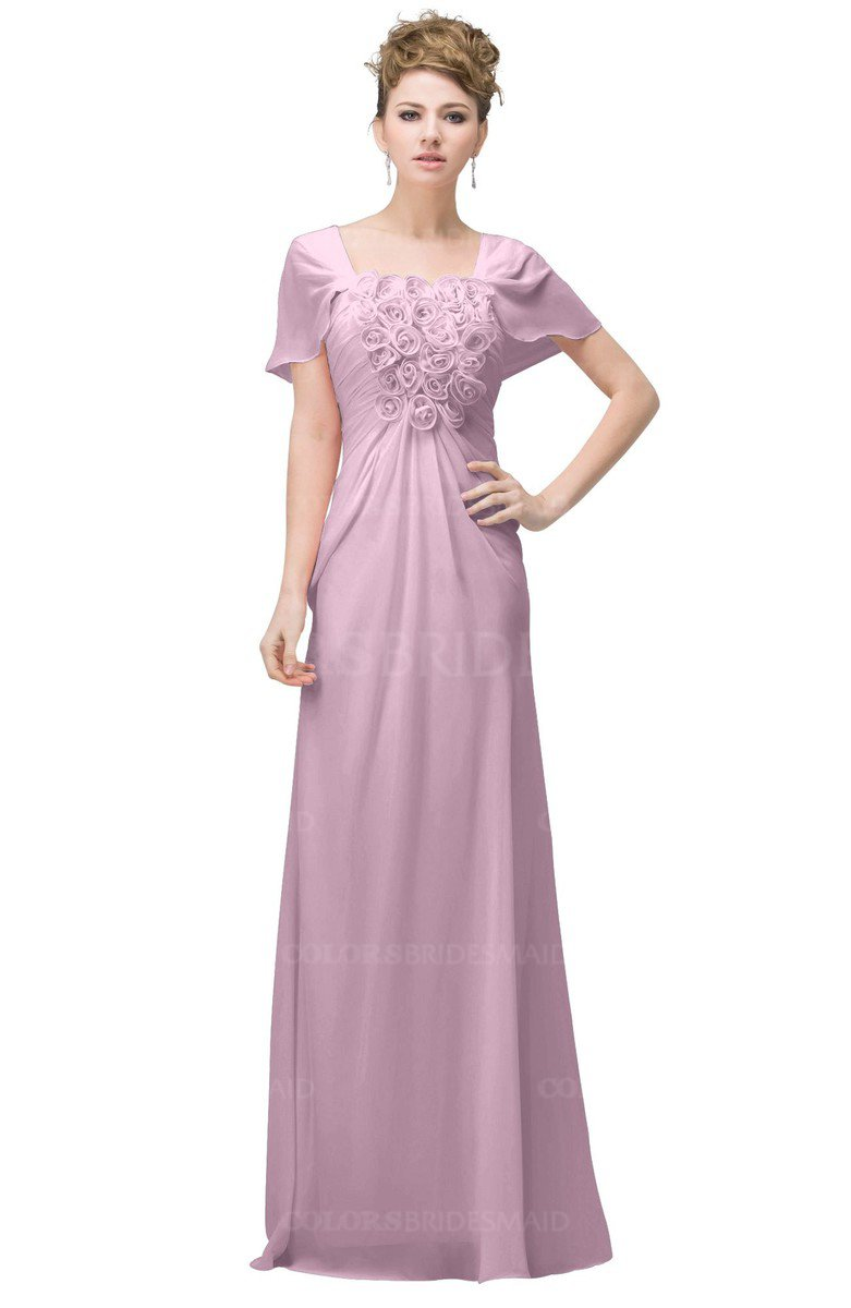 921cada695a ColsBM Luna Baby Pink Casual A-line Square Short Sleeve Floor Length Plus  Size Bridesmaid