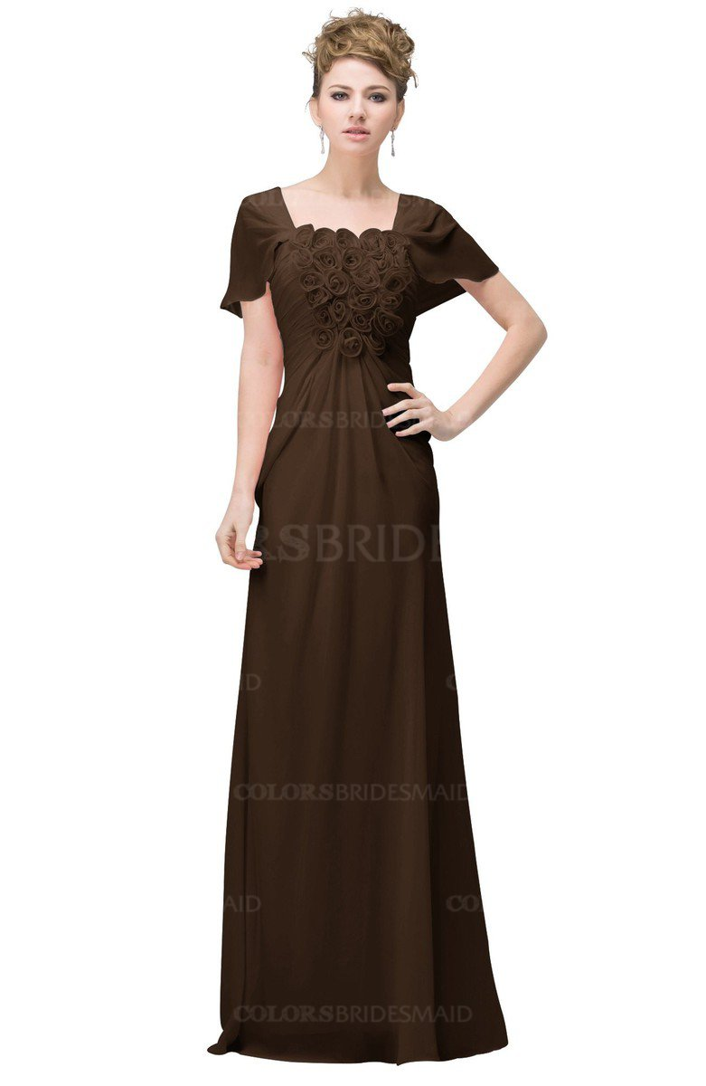 9dcf133f44c ColsBM Luna Chocolate Brown Casual A-line Square Short Sleeve Floor Length  Plus Size Bridesmaid