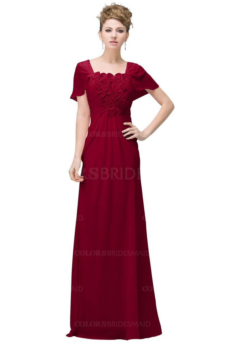 Colsbm Luna Dark Red Casual A Line Square Short Sleeve Floor Length Plus Size Bridesmaid