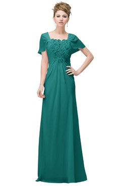 1a50200f591 ColsBM Luna Emerald Green Casual A-line Square Short Sleeve Floor Length  Plus Size Bridesmaid