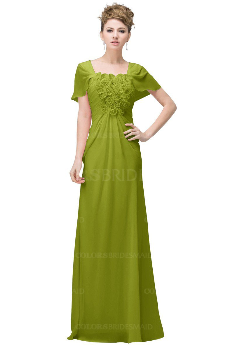 8b0baa9f2fd3a ColsBM Luna Green Oasis Casual A-line Square Short Sleeve Floor Length Plus  Size Bridesmaid