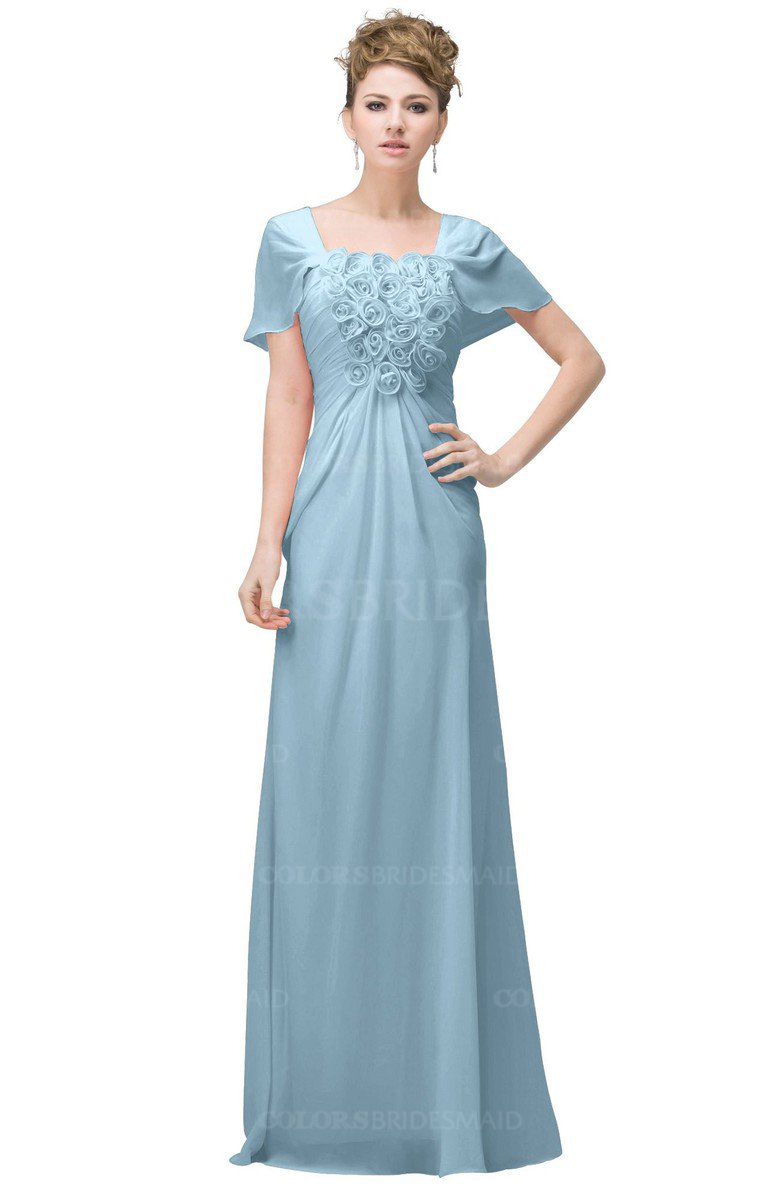 Ice blue casual a line square short sleeve floor length for Plus size wedding dresses with color and sleeves