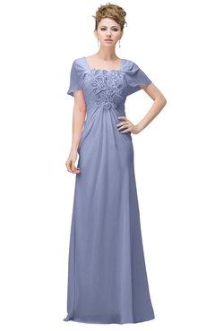 Lavender Casual A Line Square Short Sleeve Floor Length Plus Size Bridesmaid Dresses