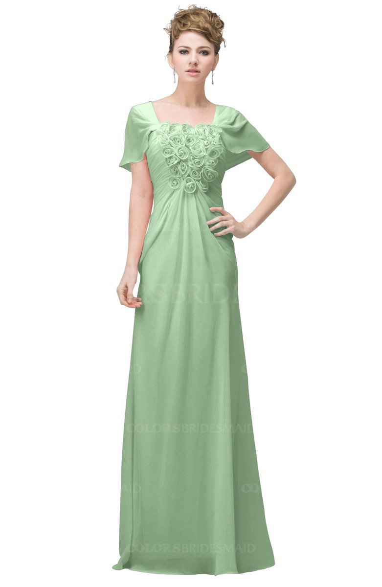 036ee7517f9 ColsBM Luna Light Green Casual A-line Square Short Sleeve Floor Length Plus  Size Bridesmaid