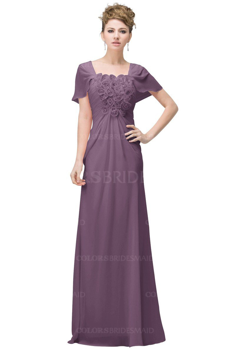 a05d11c155 ColsBM Luna Mauve Casual A-line Square Short Sleeve Floor Length Plus Size Bridesmaid  Dresses