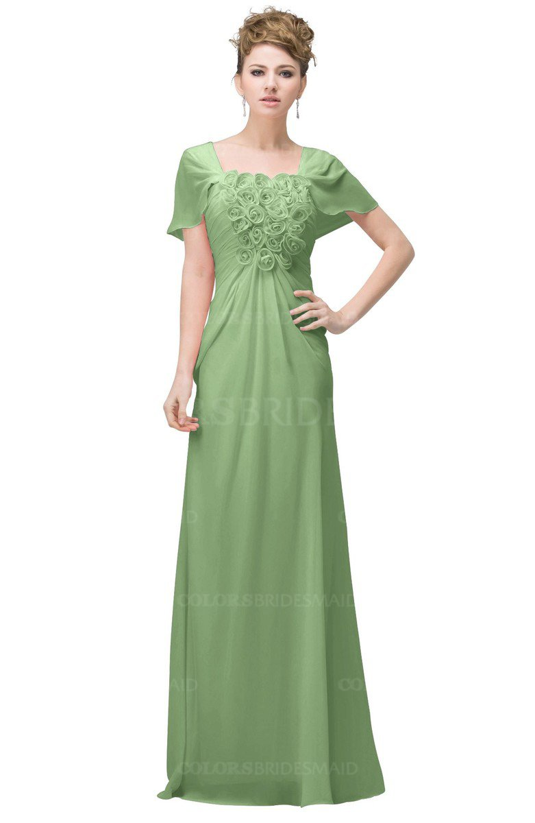 b0aab5a9602d ColsBM Luna Sage Green Casual A-line Square Short Sleeve Floor Length Plus  Size Bridesmaid