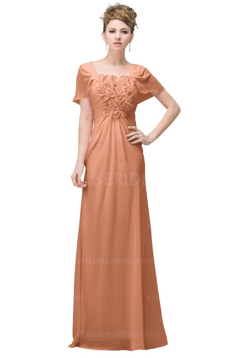 Colsbm Luna Salmon Casual A Line Square Short Sleeve Floor Length Plus Size Bridesmaid Dresses