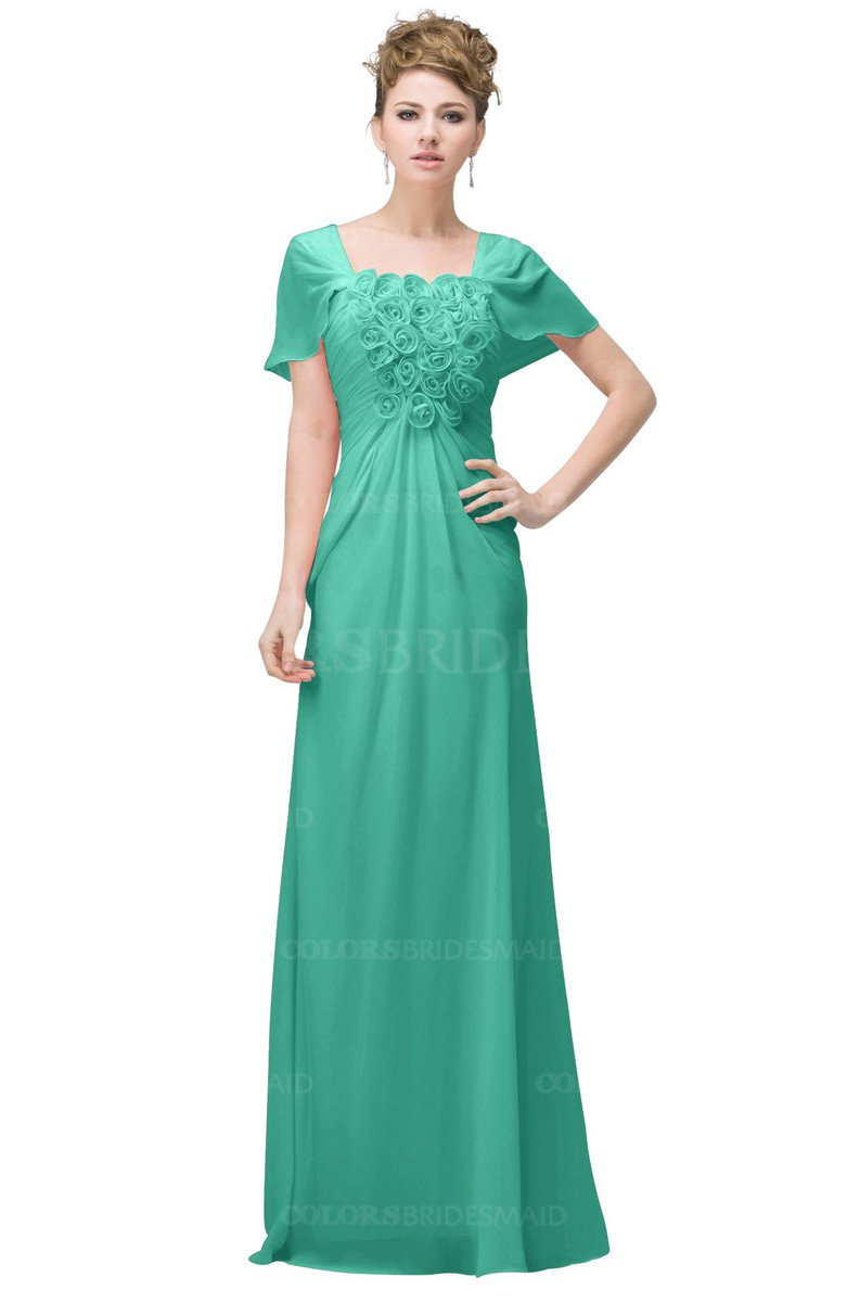 b8a309ecffce ColsBM Luna Seafoam Green Casual A-line Square Short Sleeve Floor Length  Plus Size Bridesmaid