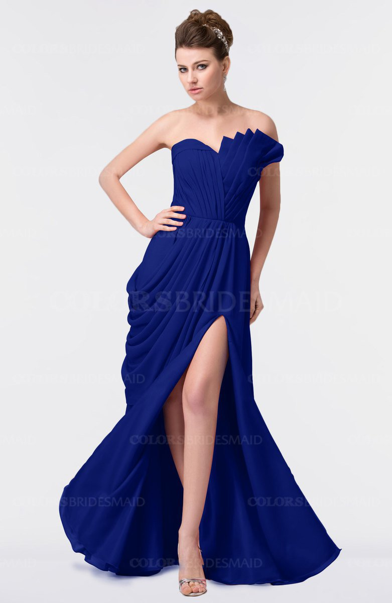 62088c6441 ColsBM Gwen Electric Blue Elegant A-line Strapless Sleeveless Backless Floor  Length Plus Size Bridesmaid