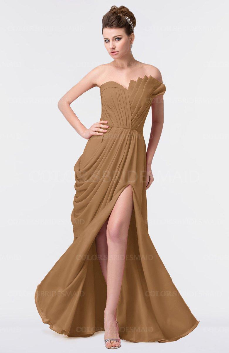 Brown Floor Length Plus Size Dress
