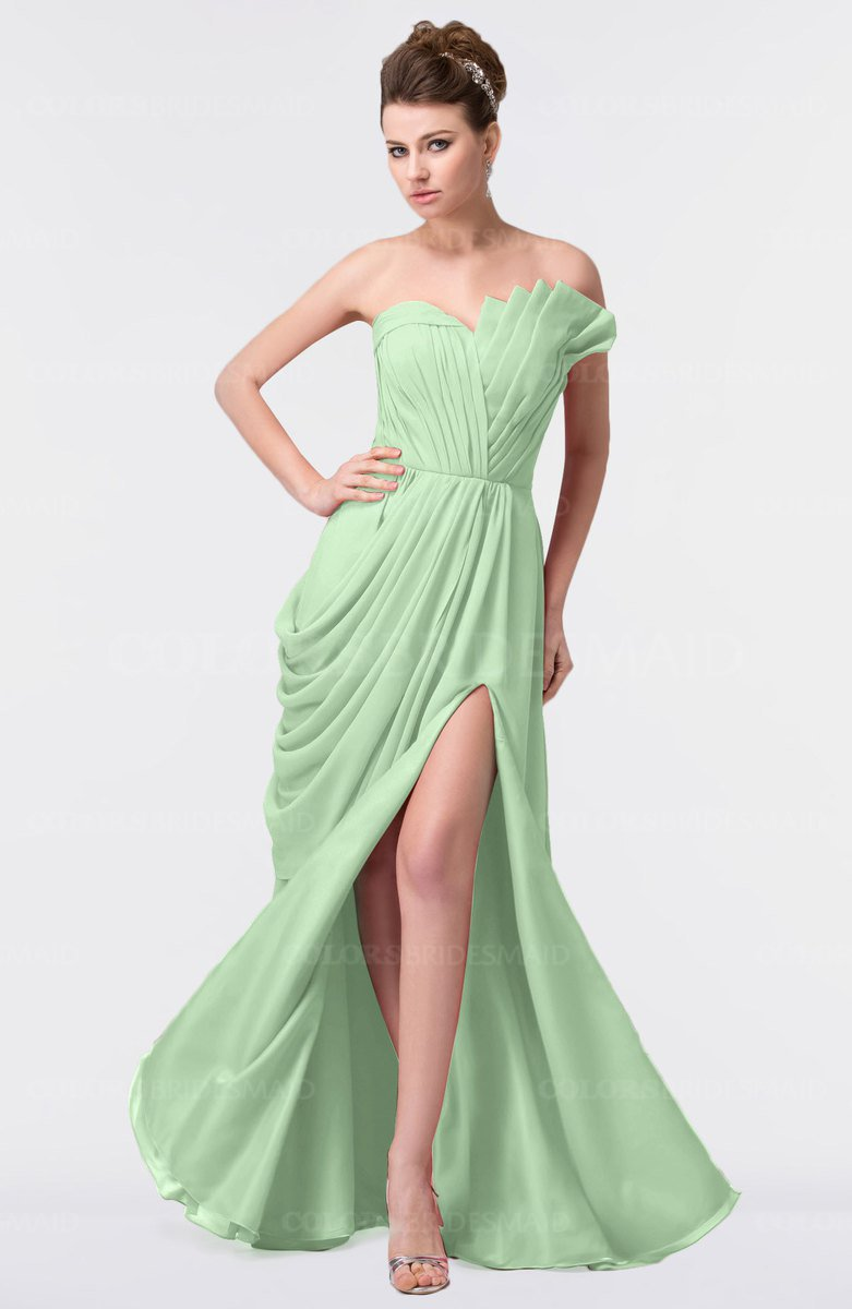 5ddbe6dbc0a ColsBM Gwen Light Green Elegant A-line Strapless Sleeveless Backless Floor  Length Plus Size Bridesmaid