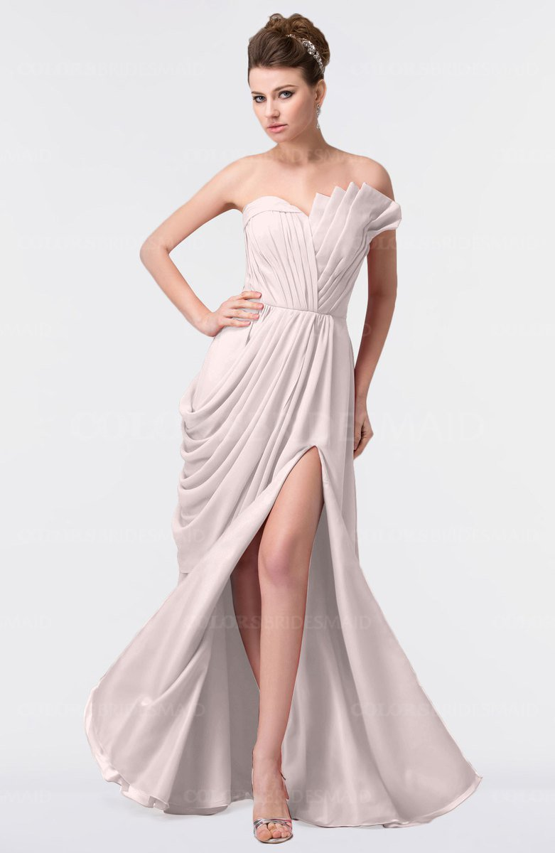 a99c042191c ColsBM Gwen Light Pink Elegant A-line Strapless Sleeveless Backless Floor  Length Plus Size Bridesmaid