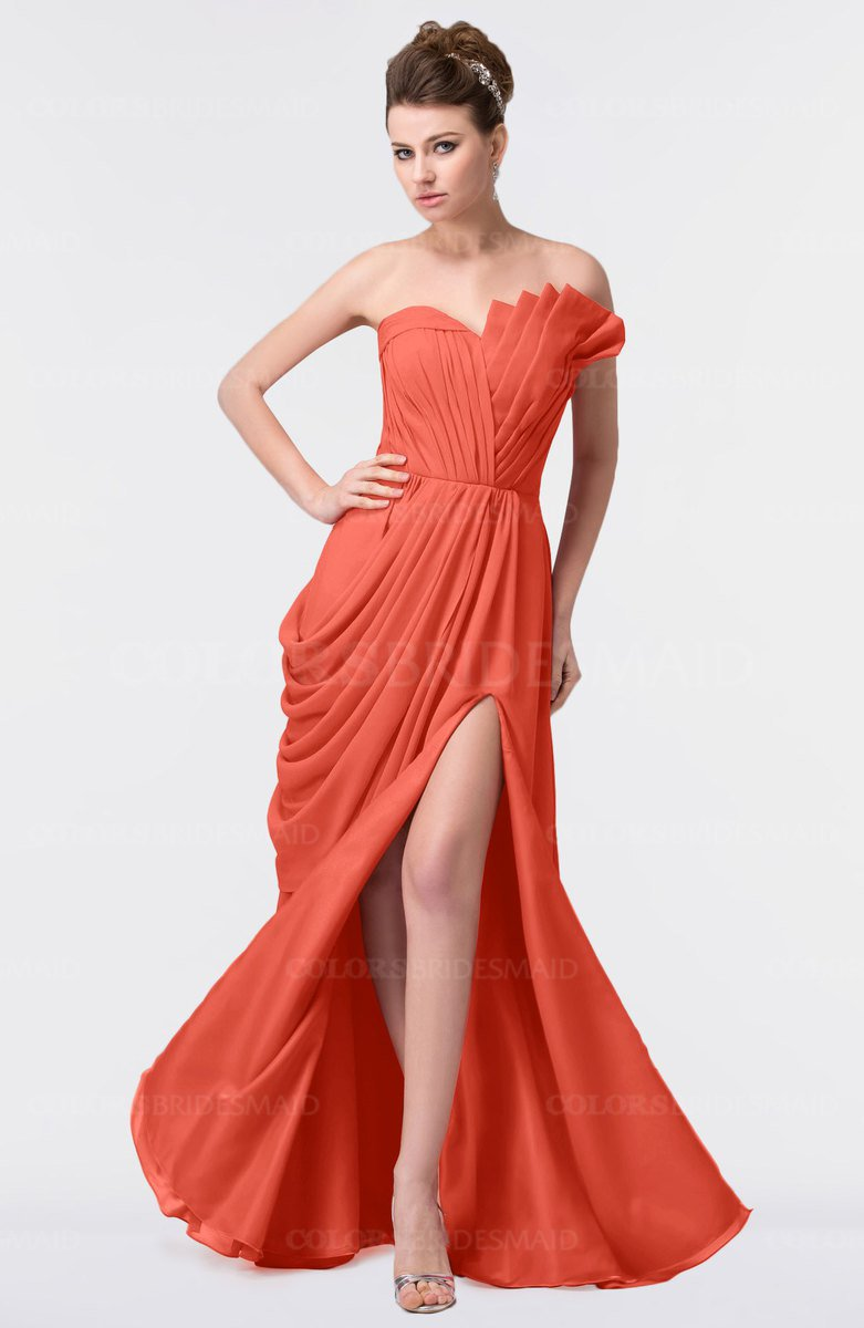 ecb456830130 ColsBM Gwen Living Coral Elegant A-line Strapless Sleeveless Backless Floor  Length Plus Size Bridesmaid