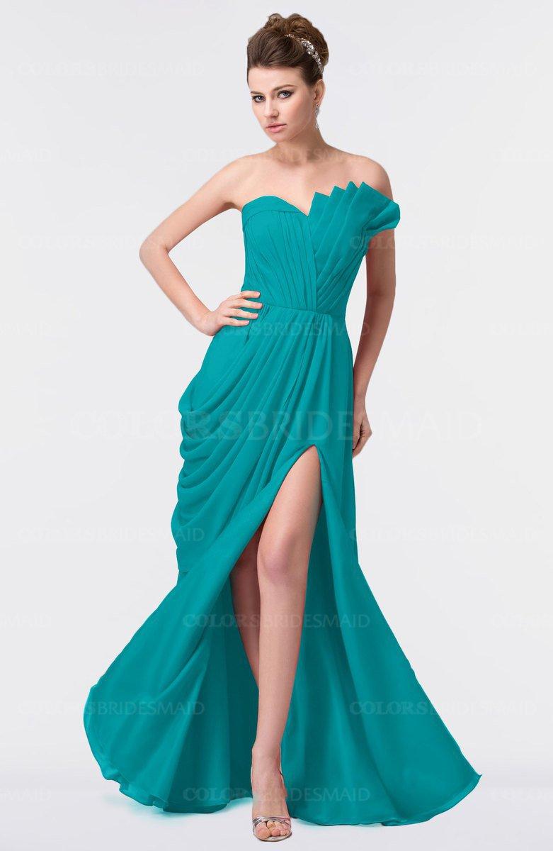 173c381b5de ColsBM Gwen Peacock Blue Elegant A-line Strapless Sleeveless Backless Floor  Length Plus Size Bridesmaid