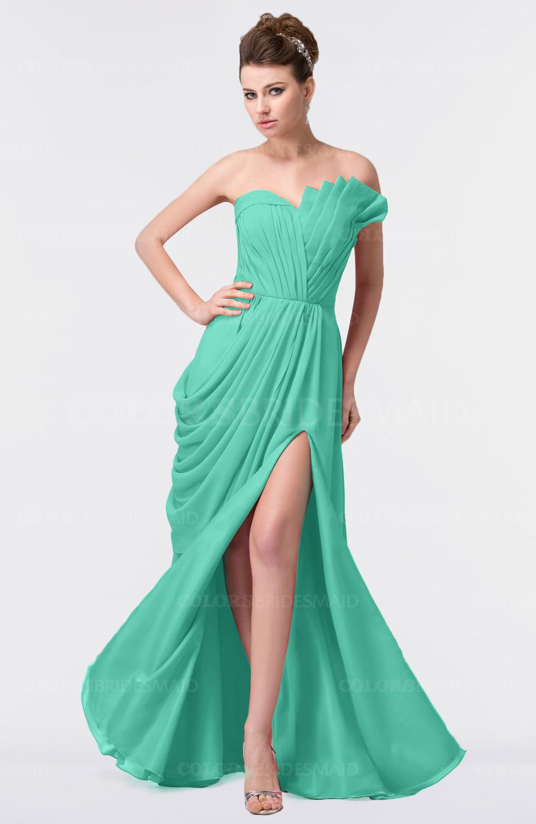Colsbm Gwen Seafoam Green Elegant A Line Strapless Sleeveless Backless Floor Length Plus Size Bridesmaid