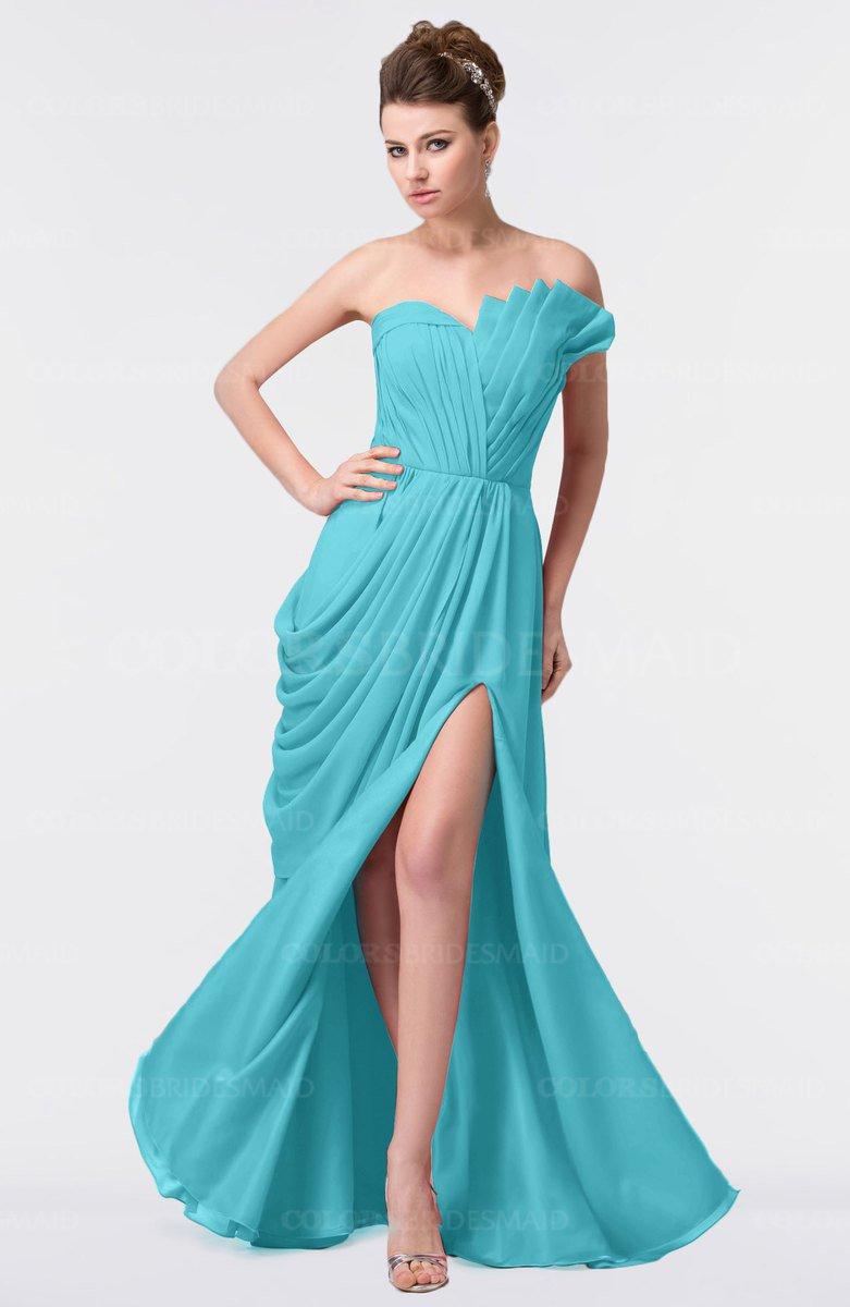 Turquoise Elegant A-line Strapless Sleeveless Backless Floor ...