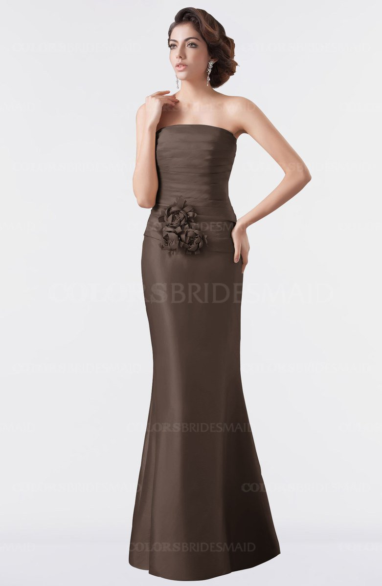 5795222c77 ColsBM Aria Chestnut Brown Classic Trumpet Sleeveless Backless Floor Length Bridesmaid  Dresses