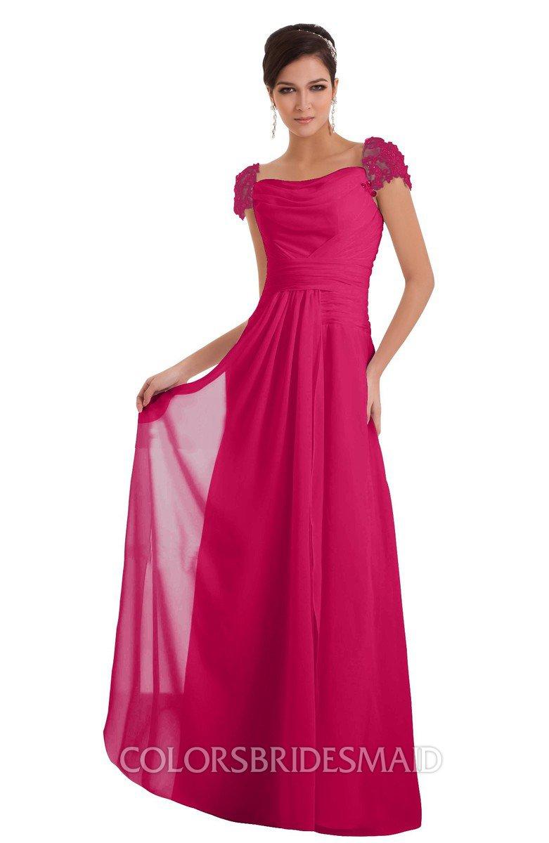 2056f357c35 ColsBM Carlee Fuschia Elegant A-line Wide Square Short Sleeve Appliques  Bridesmaid Dresses