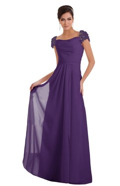 ColsBM Carlee Pansy Elegant A-line Wide Square Short Sleeve Appliques Bridesmaid Dresses