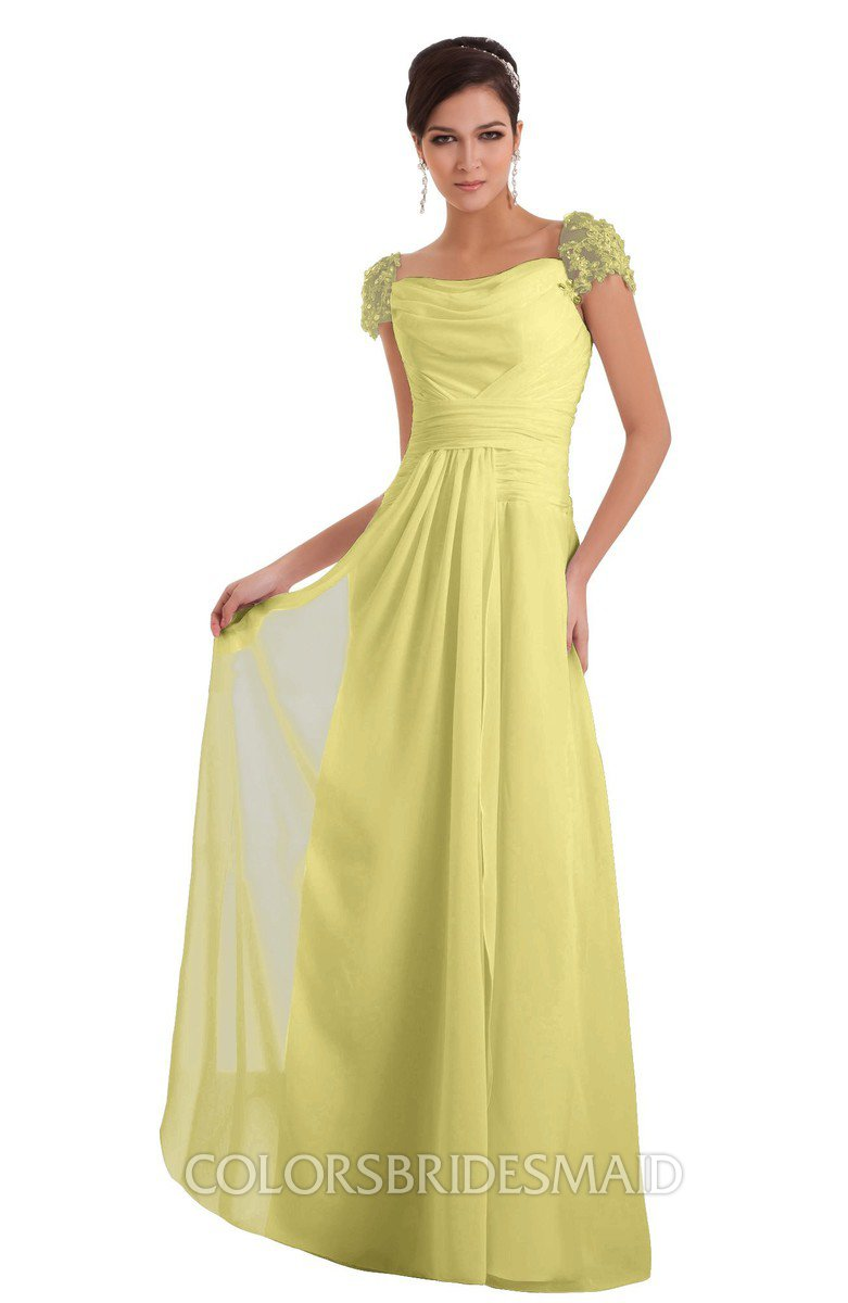 ColsBM Carlee Pastel Yellow Elegant A Line Wide Square Short Sleeve Appliques Bridesmaid Dresses