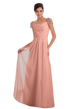 ColsBM Carlee Peach Elegant A-line Wide Square Short Sleeve Appliques Bridesmaid Dresses