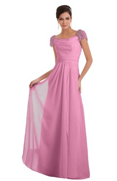 ColsBM Carlee Pink Elegant A-line Wide Square Short Sleeve Appliques Bridesmaid Dresses