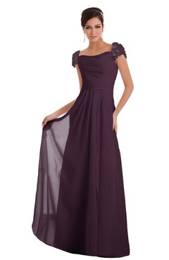 ColsBM Carlee Plum Elegant A-line Wide Square Short Sleeve Appliques Bridesmaid Dresses