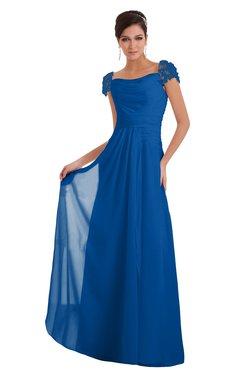 Elegant A-line Wide Square Short Sleeve Appliques Bridesmaid Dresses