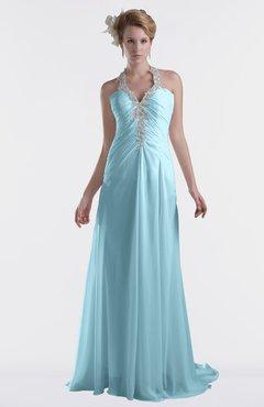 ColsBM Eden Aqua Cinderella A-line Sweetheart Sleeveless Criss-cross Straps Brush Train Plus Size Bridesmaid Dresses