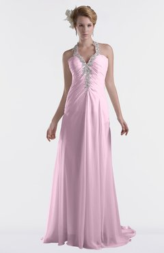 ColsBM Eden Baby Pink Cinderella A-line Sweetheart Sleeveless Criss-cross Straps Brush Train Plus Size Bridesmaid Dresses