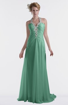 ColsBM Eden Beryl Green Cinderella A-line Sweetheart Sleeveless Criss-cross Straps Brush Train Plus Size Bridesmaid Dresses