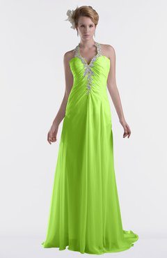 ColsBM Eden Bright Green Cinderella A-line Sweetheart Sleeveless Criss-cross Straps Brush Train Plus Size Bridesmaid Dresses