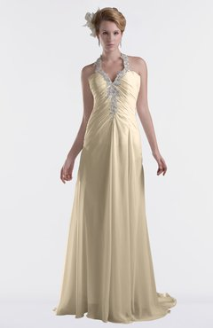ColsBM Eden Champagne Cinderella A-line Sweetheart Sleeveless Criss-cross Straps Brush Train Plus Size Bridesmaid Dresses