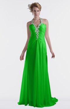 ColsBM Eden Classic Green Cinderella A-line Sweetheart Sleeveless Criss-cross Straps Brush Train Plus Size Bridesmaid Dresses