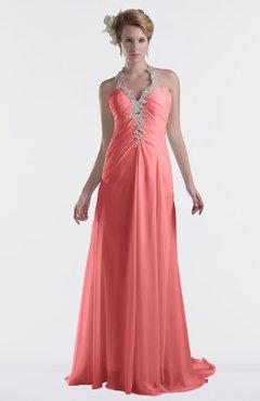 ColsBM Eden Coral Cinderella A-line Sweetheart Sleeveless Criss-cross Straps Brush Train Plus Size Bridesmaid Dresses