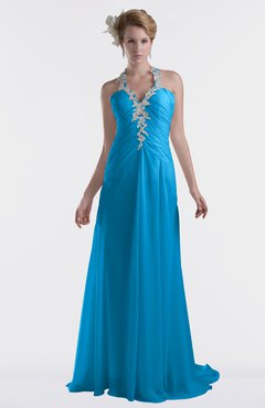 ColsBM Eden Cornflower Blue Cinderella A-line Sweetheart Sleeveless Criss-cross Straps Brush Train Plus Size Bridesmaid Dresses