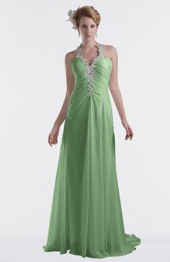 ColsBM Eden Fair Green Cinderella A-line Sweetheart Sleeveless Criss-cross Straps Brush Train Plus Size Bridesmaid Dresses