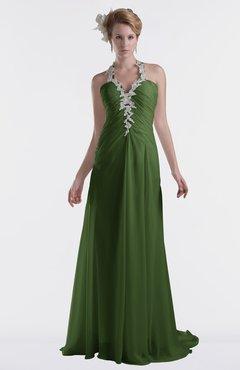ColsBM Eden Garden Green Cinderella A-line Sweetheart Sleeveless Criss-cross Straps Brush Train Plus Size Bridesmaid Dresses