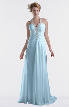 ColsBM Eden Ice Blue Cinderella A-line Sweetheart Sleeveless Criss-cross Straps Brush Train Plus Size Bridesmaid Dresses