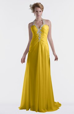 ColsBM Eden Lemon Curry Cinderella A-line Sweetheart Sleeveless Criss-cross Straps Brush Train Plus Size Bridesmaid Dresses